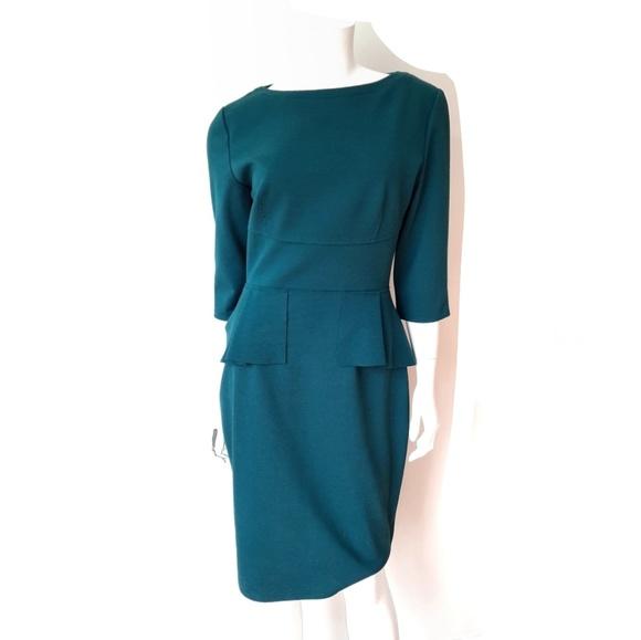 Elie Tahari Dresses & Skirts - Elie Tahari Dark Teal Maura Peplum Ponte Dress